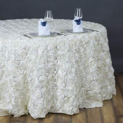 Ivory Grandoise Rosette Round 132' Tablecloth