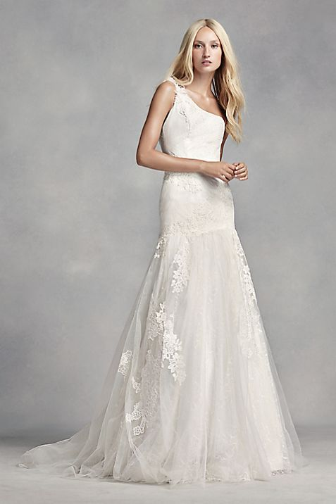 Vera Wang White White By Vera Wang One Shoulder Lace Wedding Dress Size 6 Bridal Gown Size 6 Only 850 00