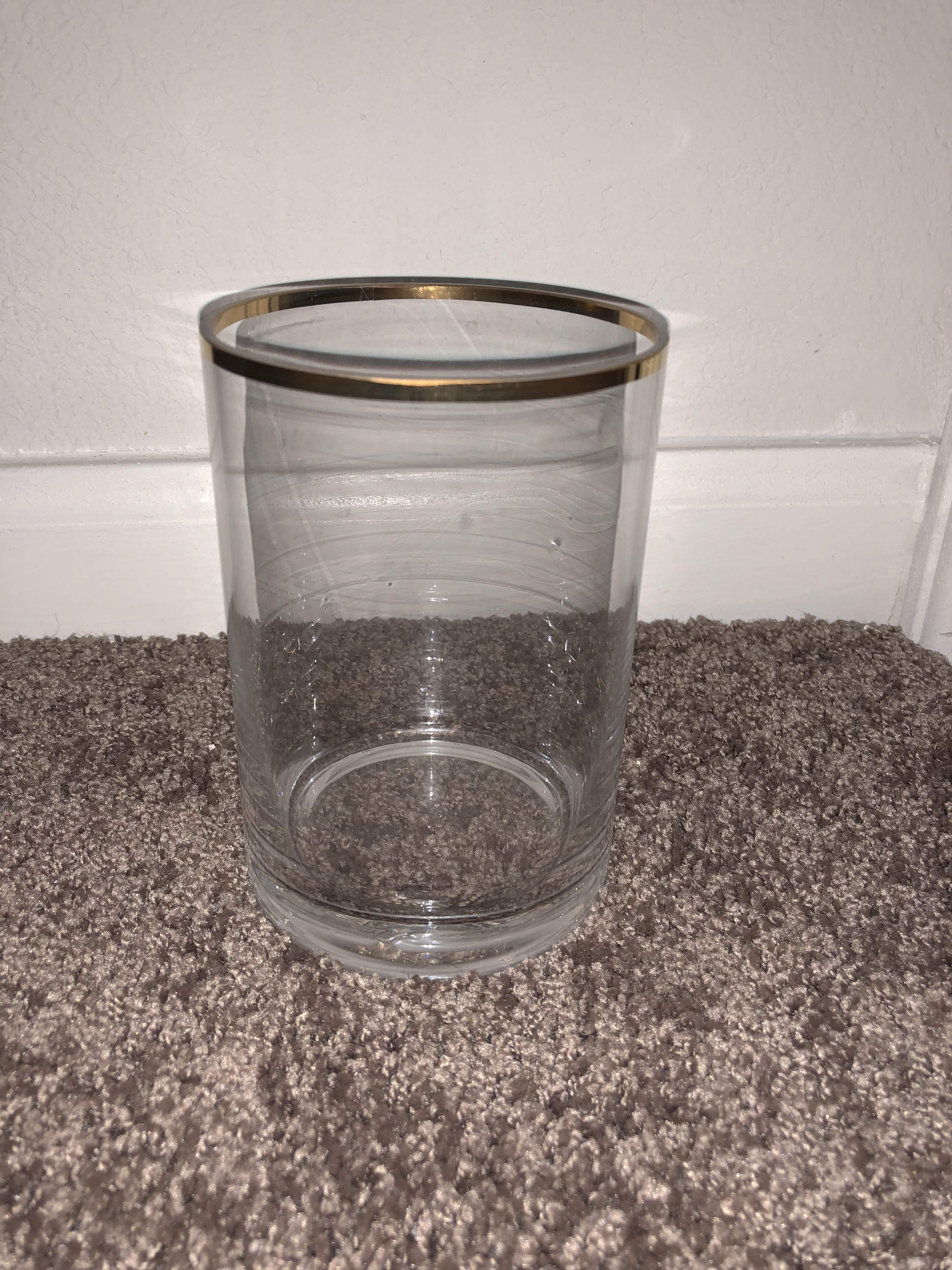 Medium Clear Vase With Gold Strip Around Top