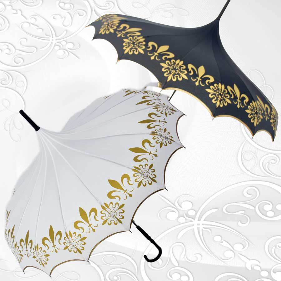 Bride & Groom Parasol Umbrella With Scalloped Edge Set