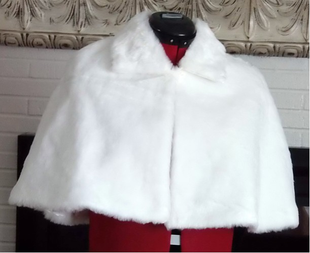 White Faux Fur Bridal Capelet