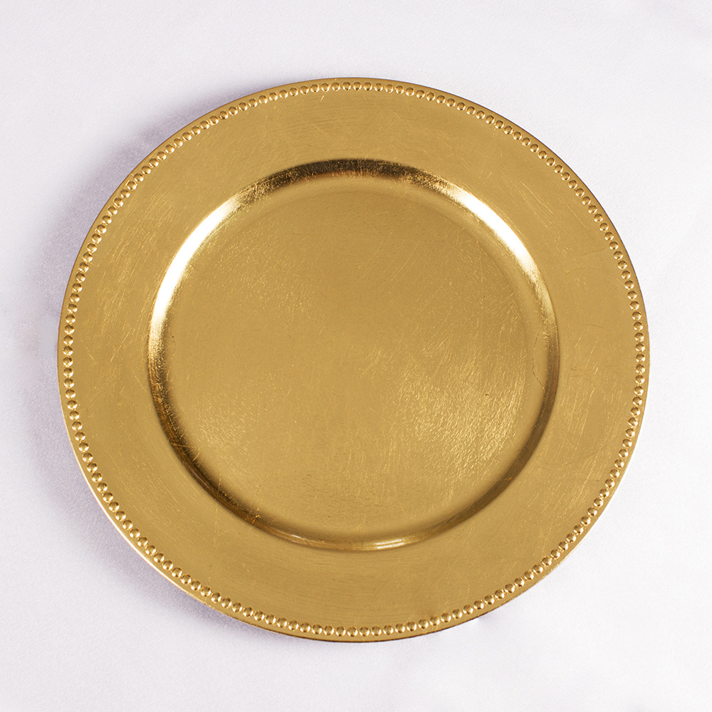 Wedding Plastic Beaded Gold Charger Plates