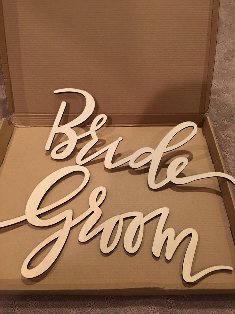 Wood Bride And Groom Chair Signs.