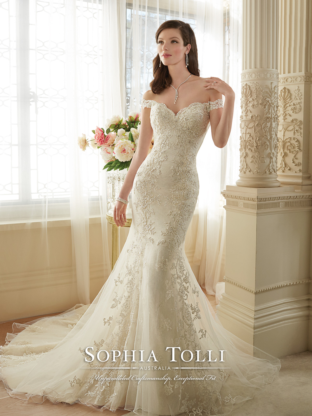 Gorgeous Low Back Sophia Tolli Sample Gown With Crystals And Beading