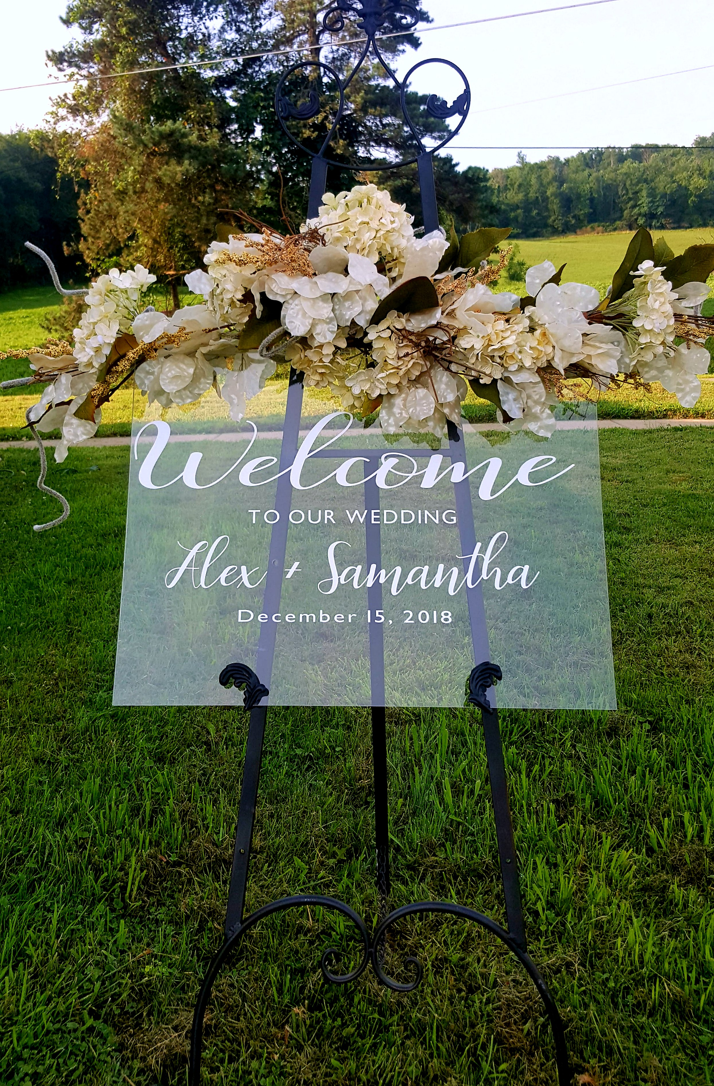 *personalized* Large 18�24? Clear Acrylic Welcome Wedding Sign