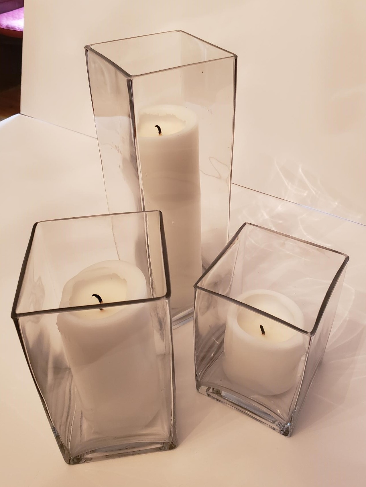 Glass Block Square Candle Holder Sets