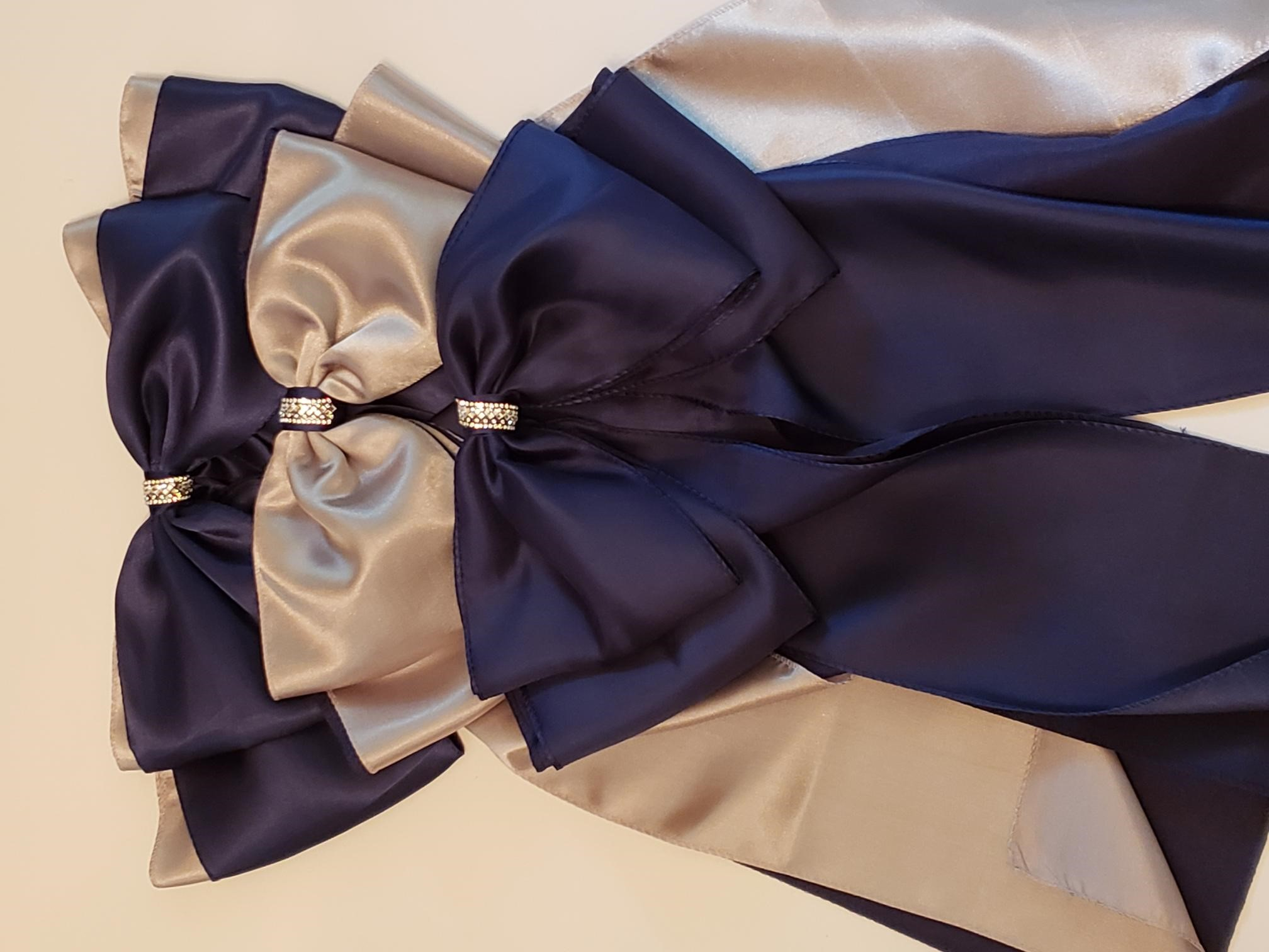 Navy Bows With Silver Underlay