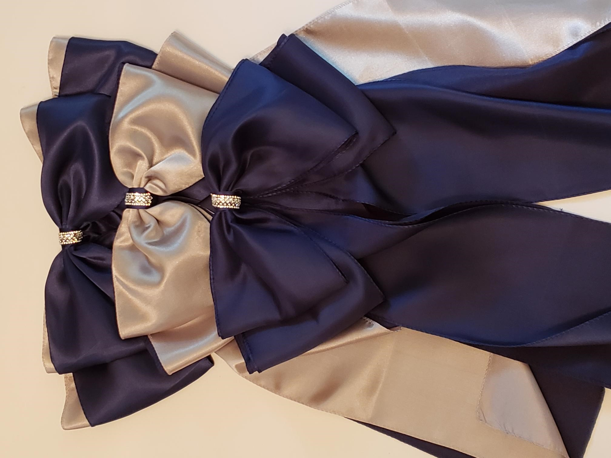 Navy And Sliver Bows