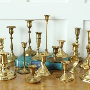 Lot Of 49 Vintage Brass Candlestick Holders
