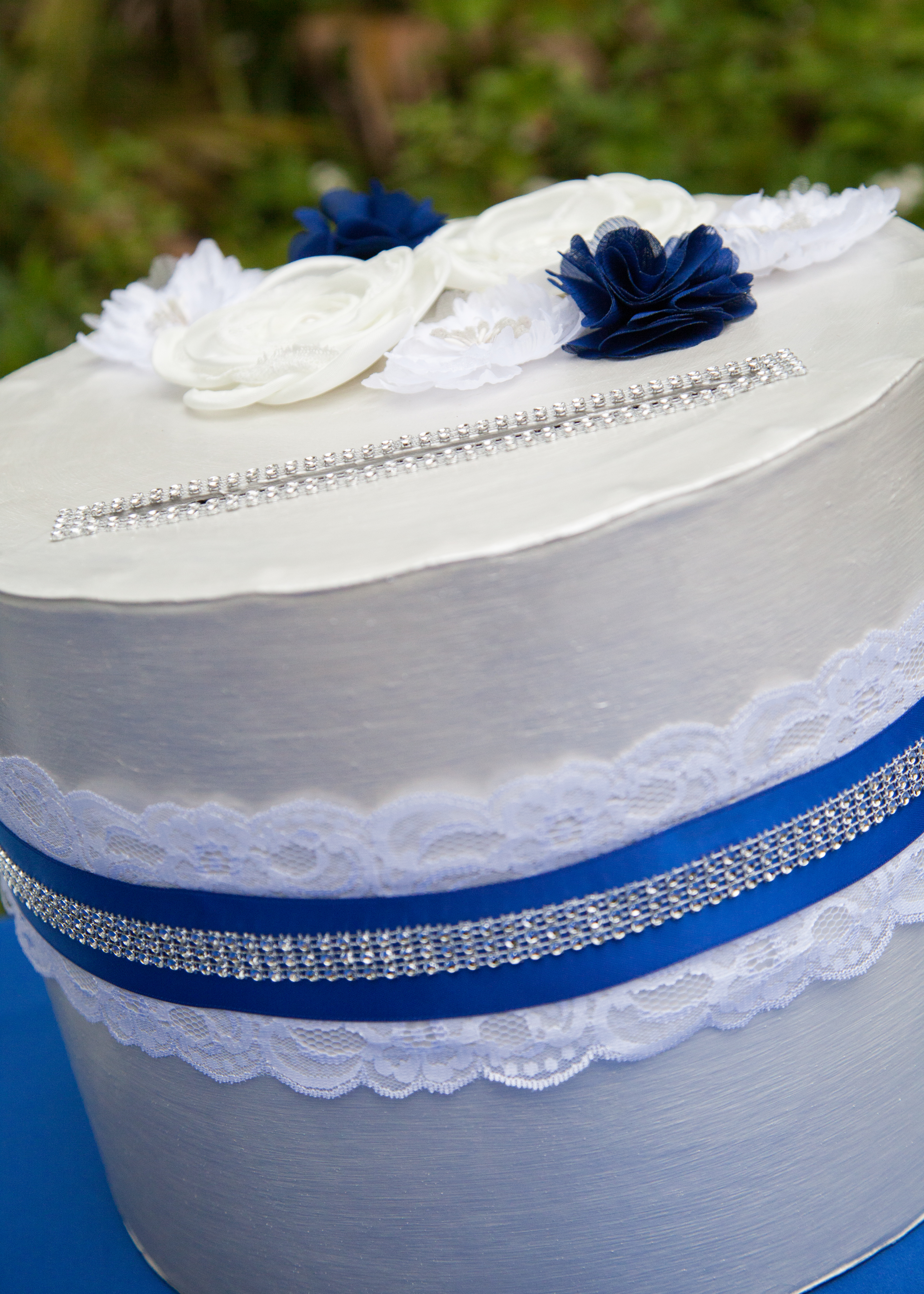 Pearl White And Royal Blue Card Box With Lace And Rhinestone Details