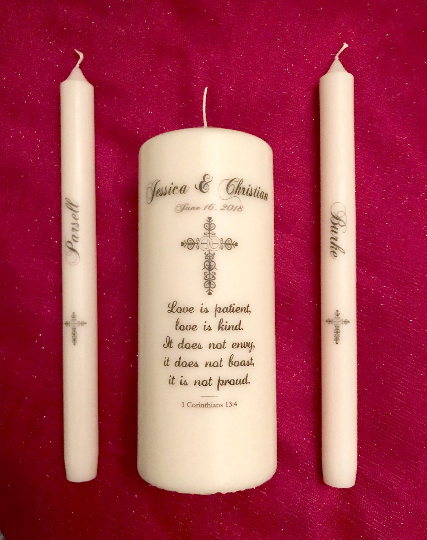 Personalized Vintage Cross Unity Candle Active