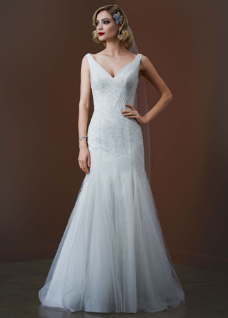 Galina Signature Vintage Mermaid Beaded Dress | Size: 8 | Bridal ...
