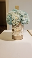 6 Ecoflower Tin Can Centerpieces, Tiffany Blue