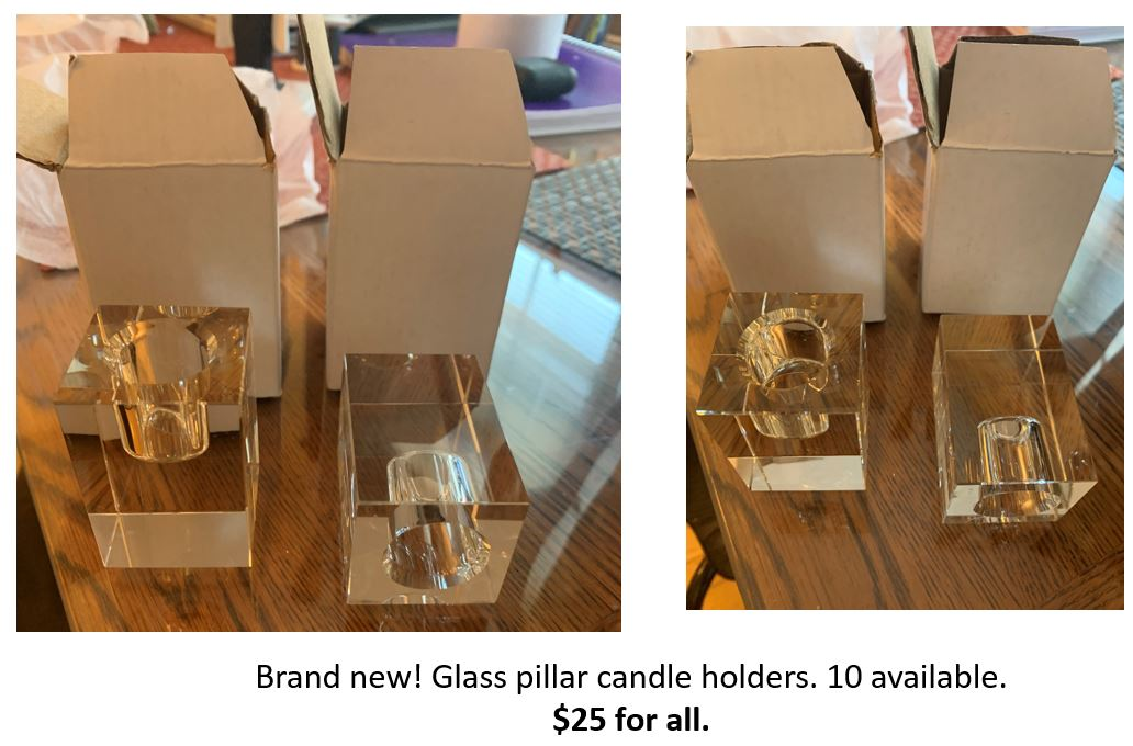Glass Pillar Candle Holders - Brand New!