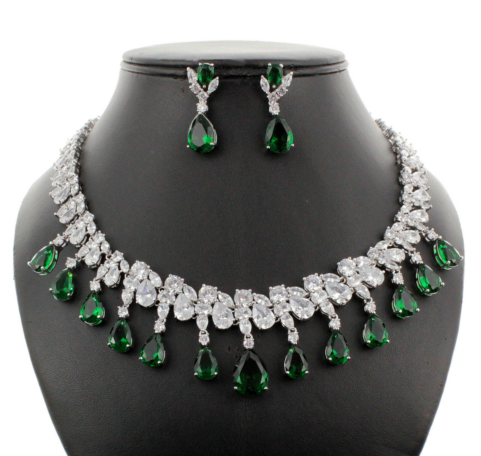 New Bridal Bridesmaid Wedding Emerald Green Dangle Drop Cz Cubic Zirconia Crystal Necklace Earrings Set