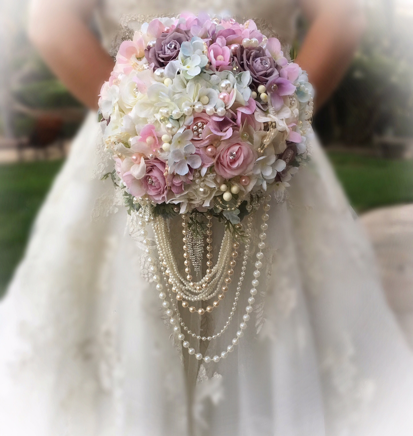 Jeweled Silk Flower Bridal Bouquet