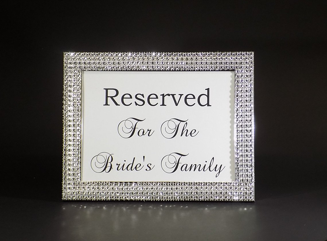 Silver Rhinestone Wedding 5x7 Bling Picture Frame W/reserved For The Bride's Family