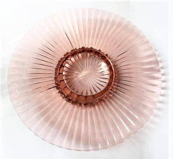 Pink Depression Glass Cake Plate, Pink Glass Ribbed Platter, Large Serving Plate