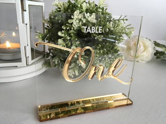 Wedding Table Numbers - Gold Clear Acrylic 1-20