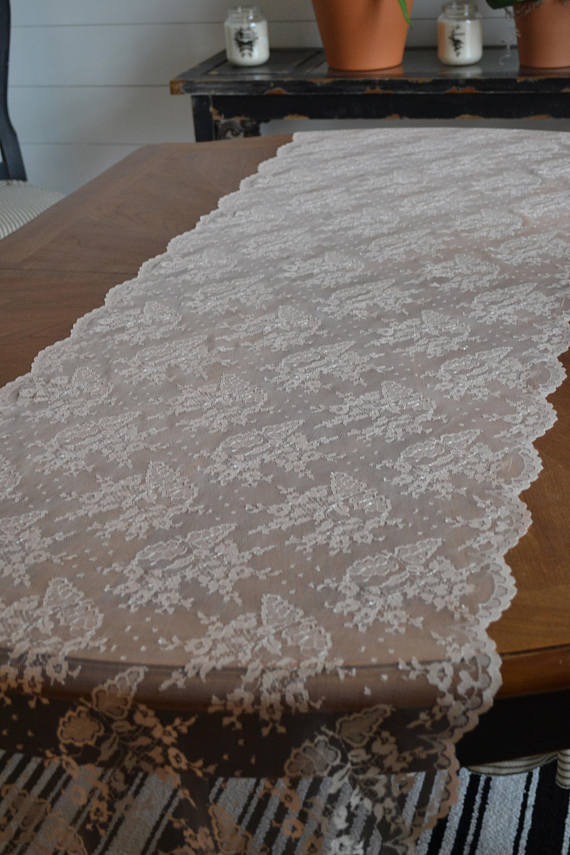 (12) Champagne Lace Table Runner 23