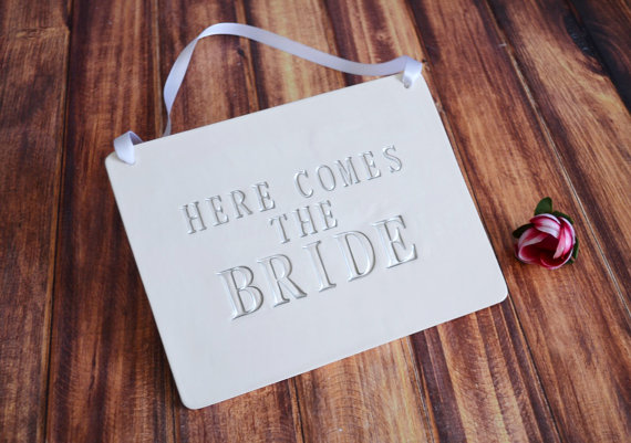 Rectangular Here Comes The Bride Wedding Sign