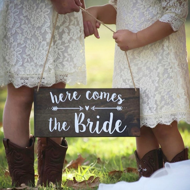 """Here Comes The Bride"" Rustic Wood Wedding Sign"