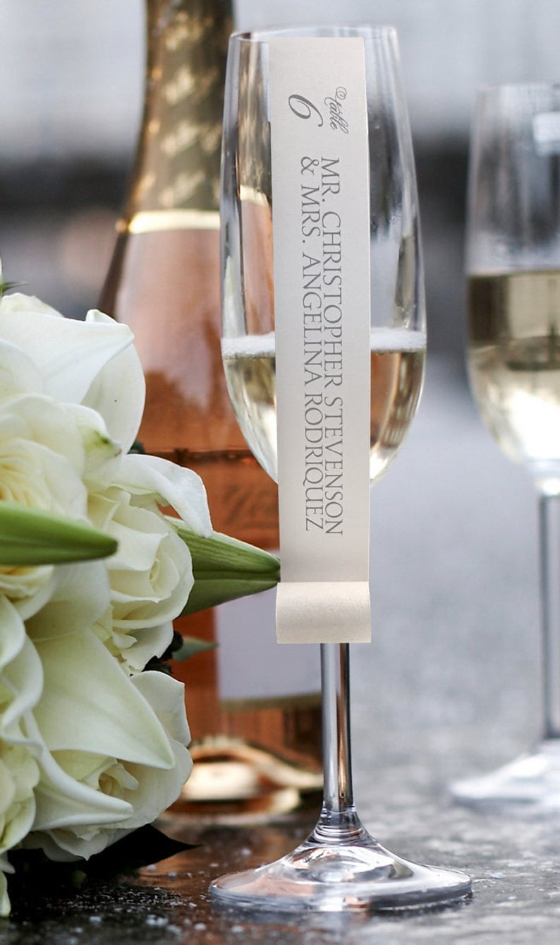 Personalized Champagne Flute Or Wine Glass Escort Card Place Card Scroll