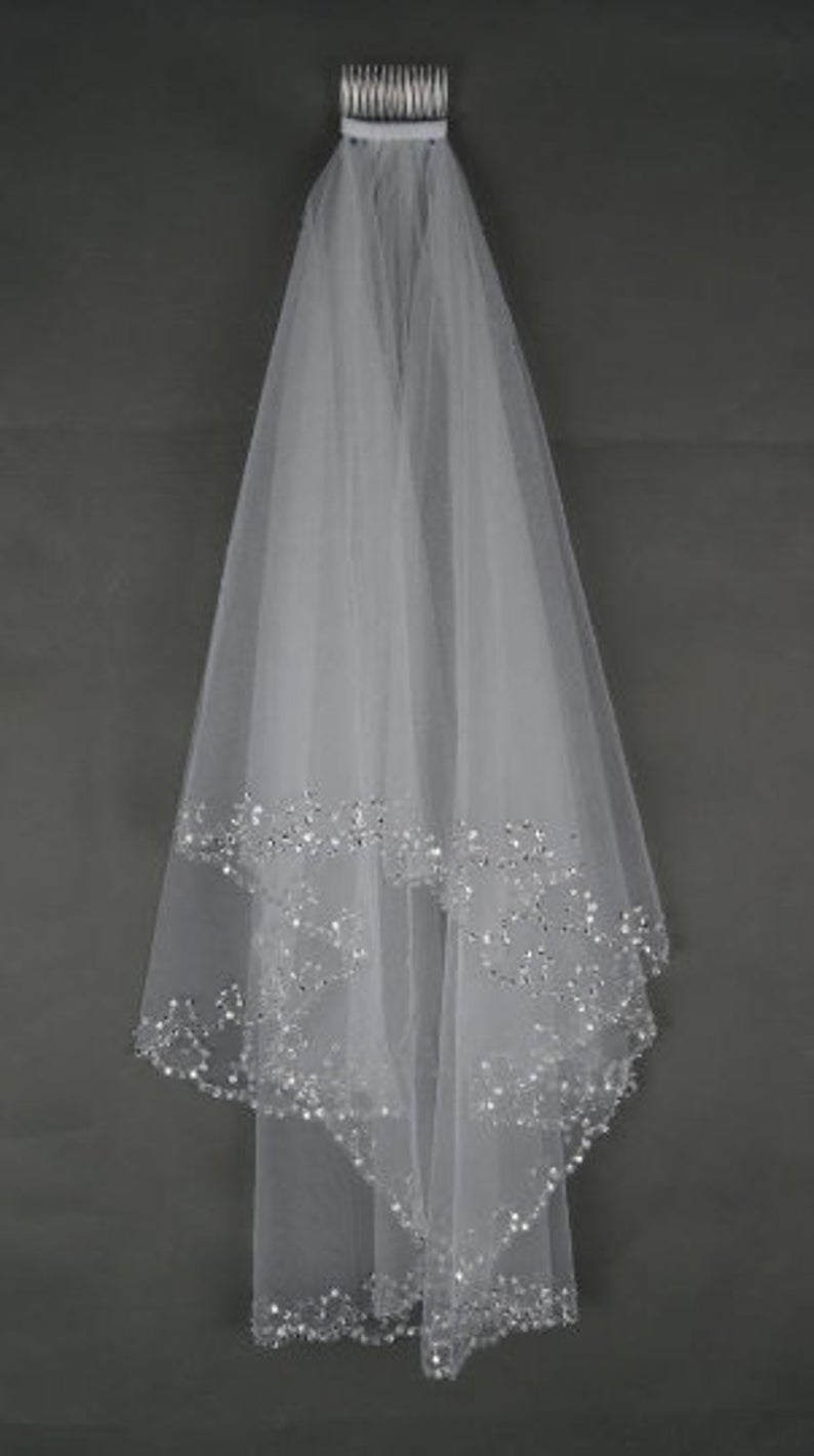 Beaded Light Ivory Veil With Sequin Edge