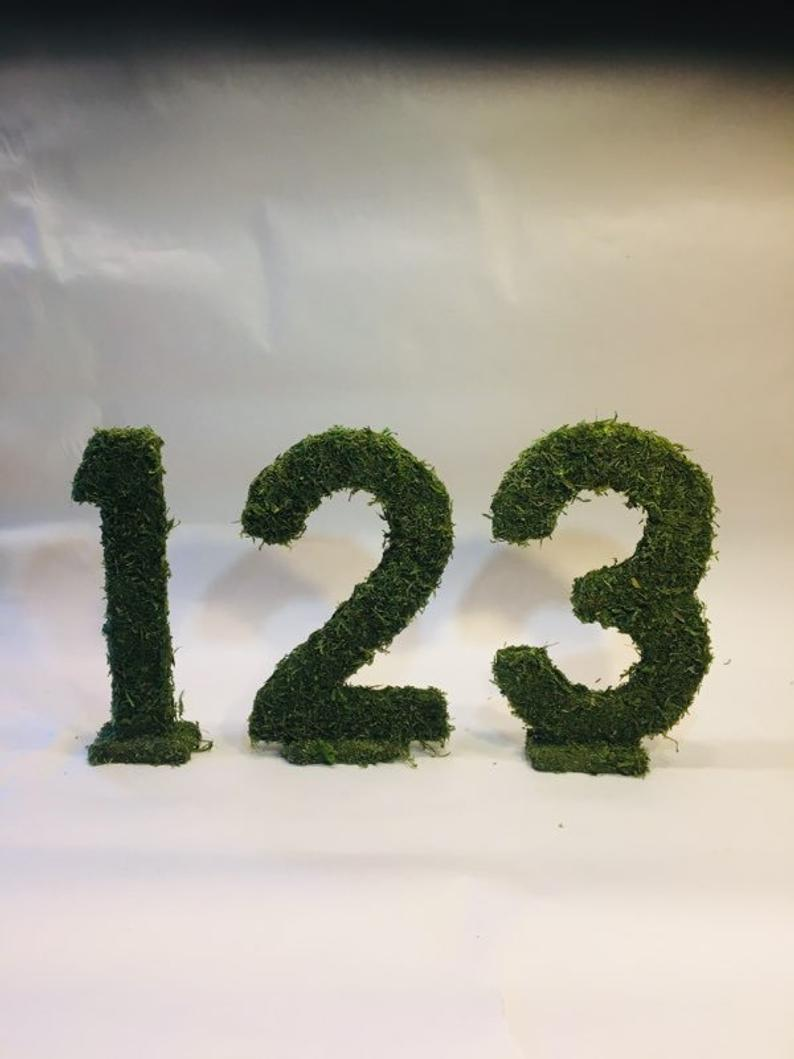 Moss Covered Numbers 11 Inches Tall Wedding Table Numbers Moss Numbers Outdoor Wedding Ideas Forest Wedding Decor Fairy Garden Wedding