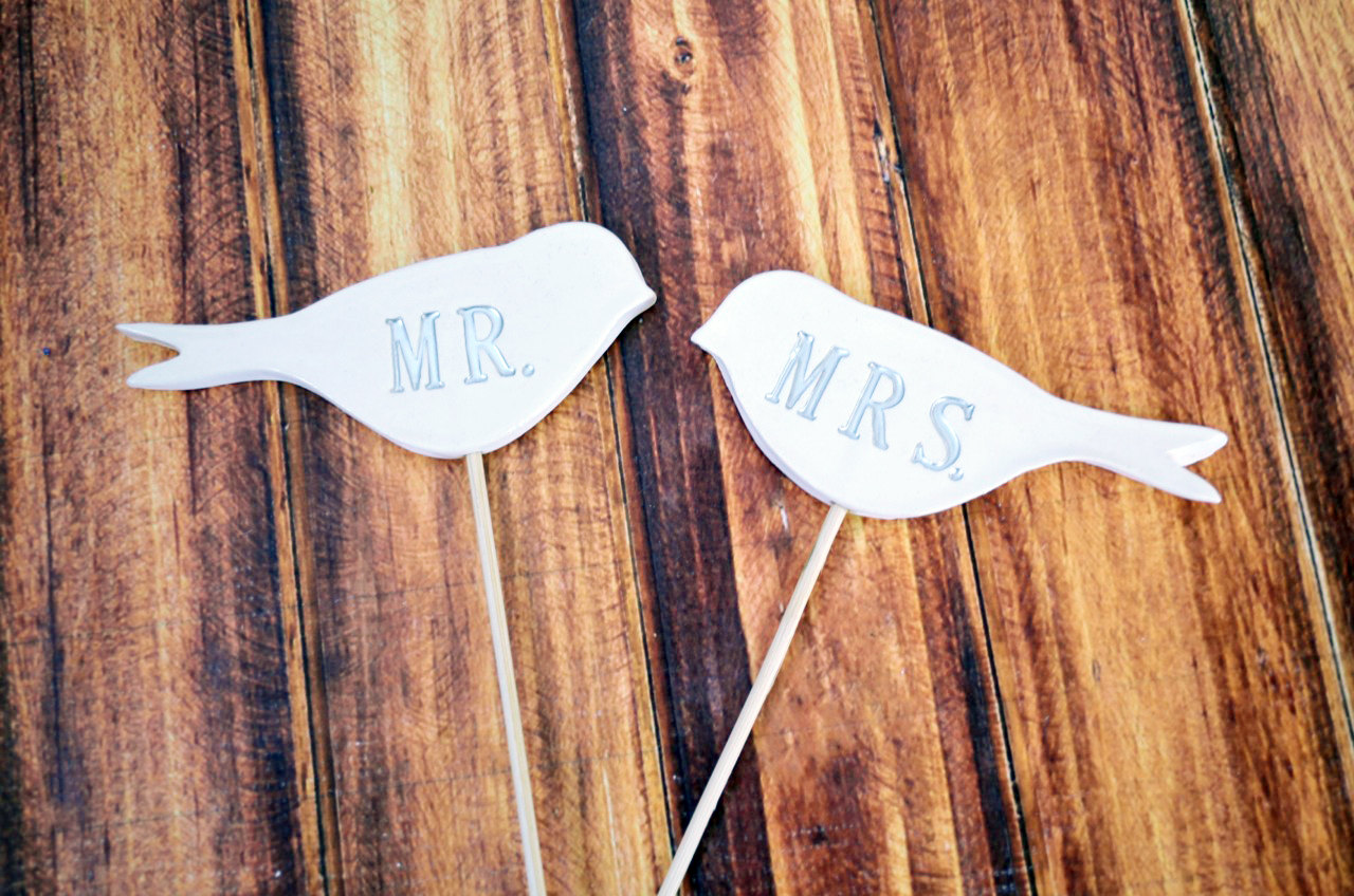 Mr. & Mrs. Bird Wedding Cake Toppers- Available In Different Colors