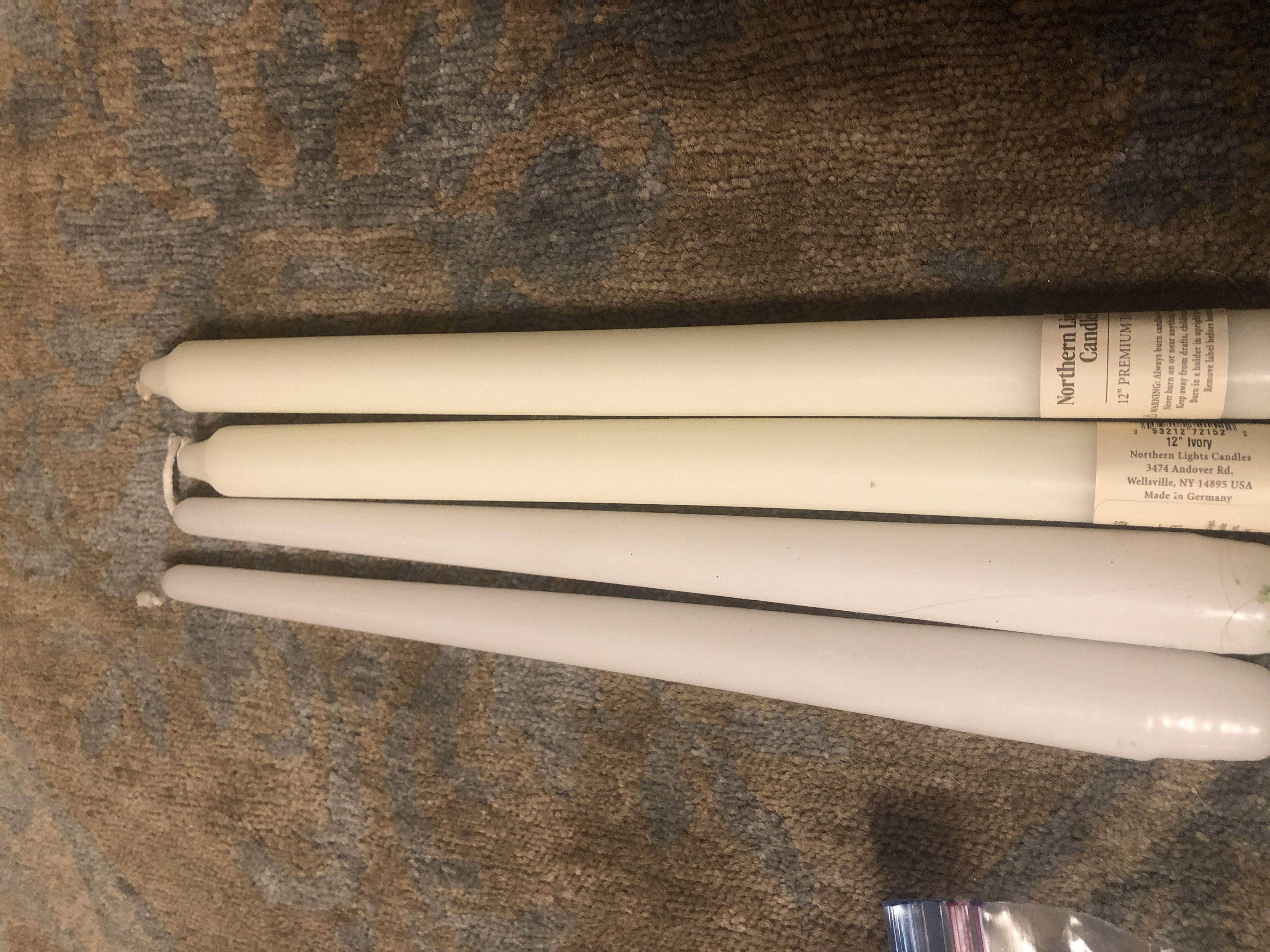 White And Ivory Taper Candles 12 In