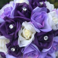 Purple + Lavender + Ivory Garden Rose Stem Fake Flower Bouquet - Silk Wedding Flowers