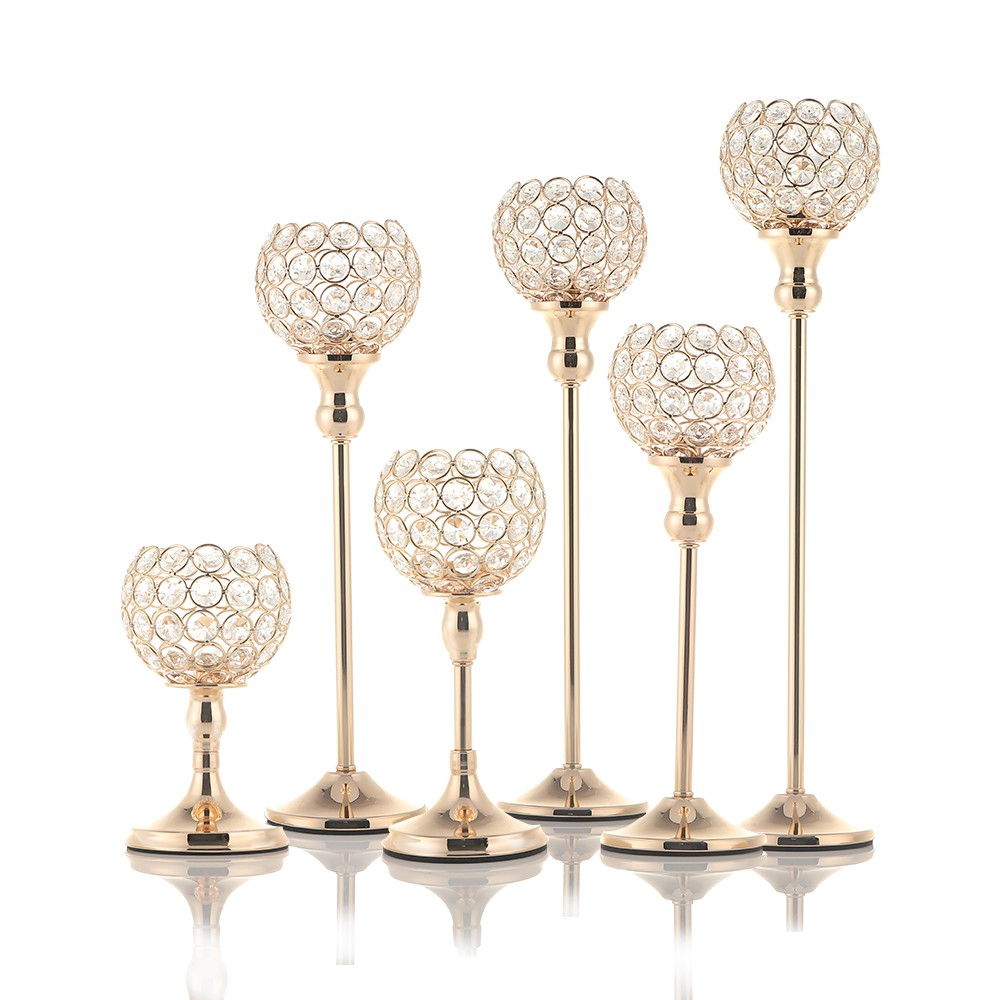 Pillar Tall Gold Wedding Centerpieces Crystal Candle Holders