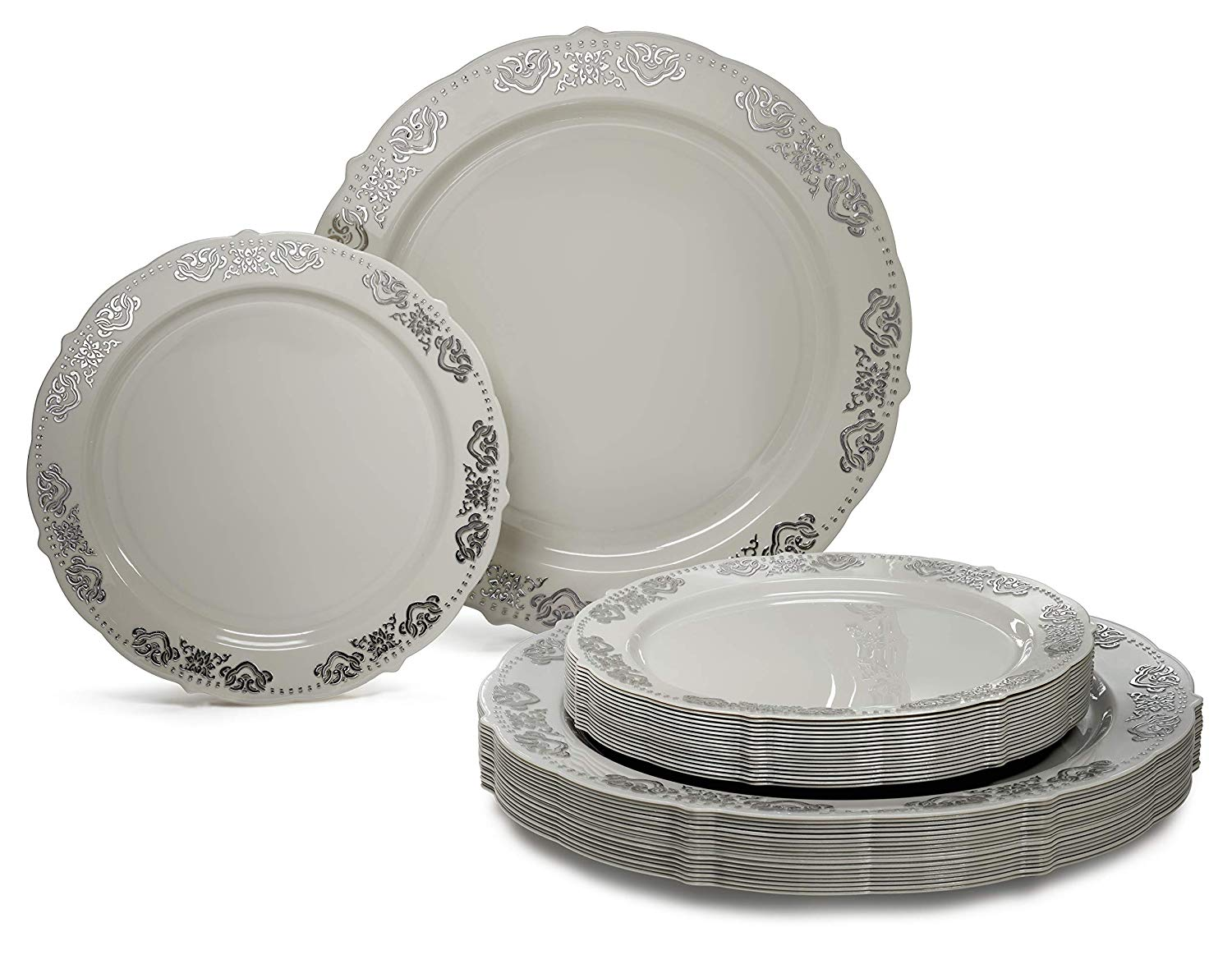 Occasions 720 Pcs / 120 Guest Wedding Disposable Plastic Plate And Silverware Combo Set (white/silver)