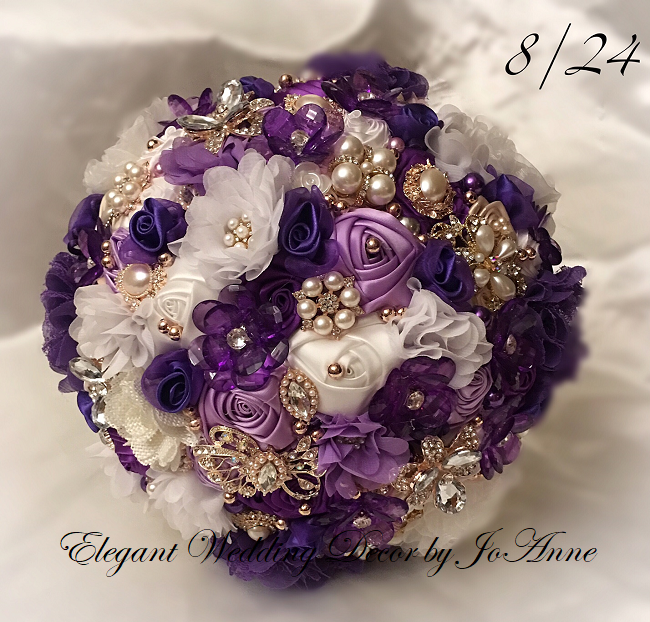 Purple Rose Gold Brooch Bouquet
