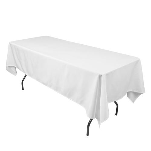 White 90 X 132 Inch Polyester Rectangle Tablecloths