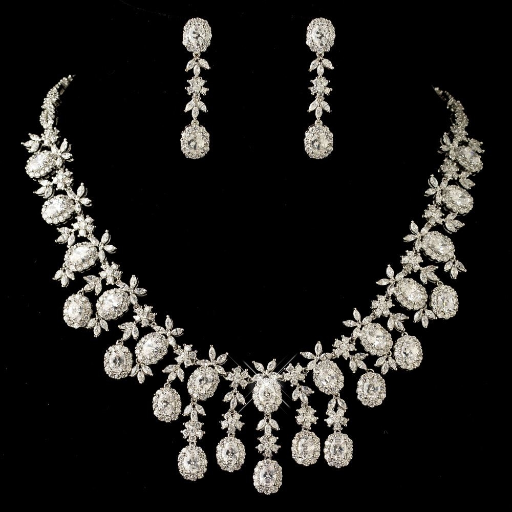 New Rhodium Clear Multi Cut Cz Crystal Jewelry Set