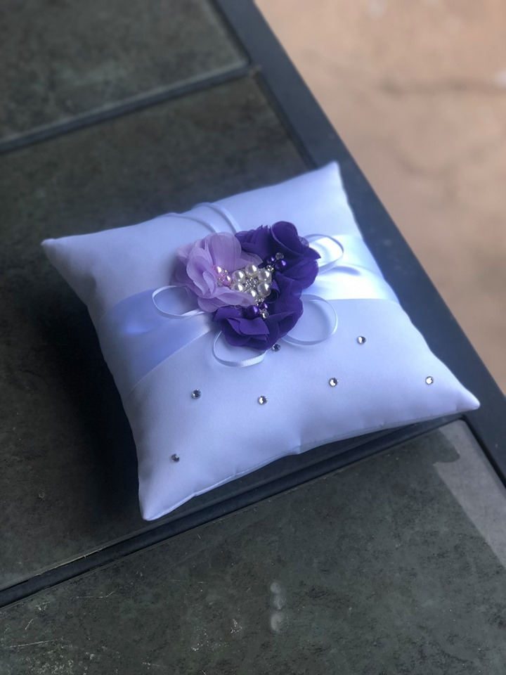 Purple & White Floral Ring Pillow