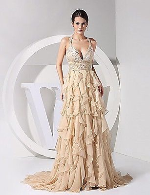 Light in the Box - Champagne Chiffon Evening Dress With Sweep/brush Train, Size L
