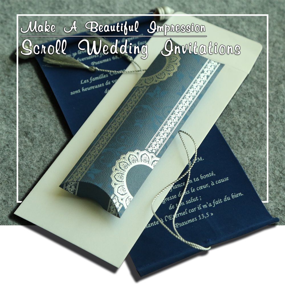 Royal Scroll Wedding Invitation Cards | Indianweddingcards