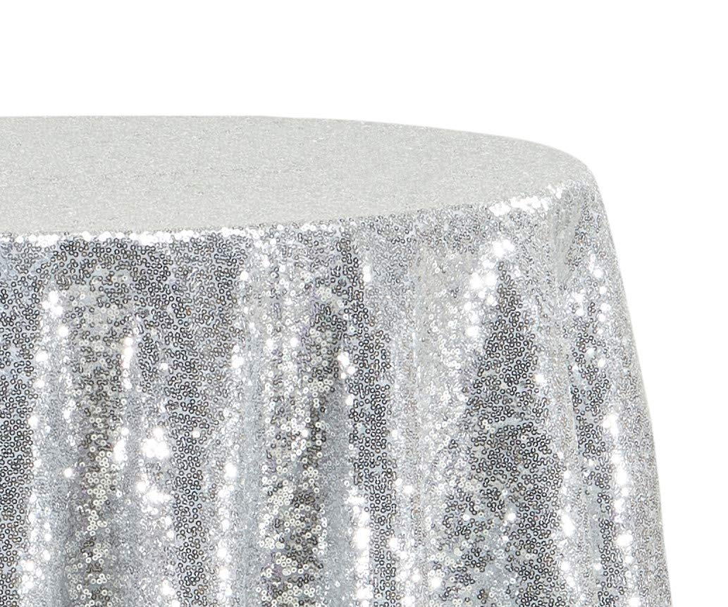(5) Sequin Cake Round Silver Sequin Tablecloth For Wedding Party Banquet 120""