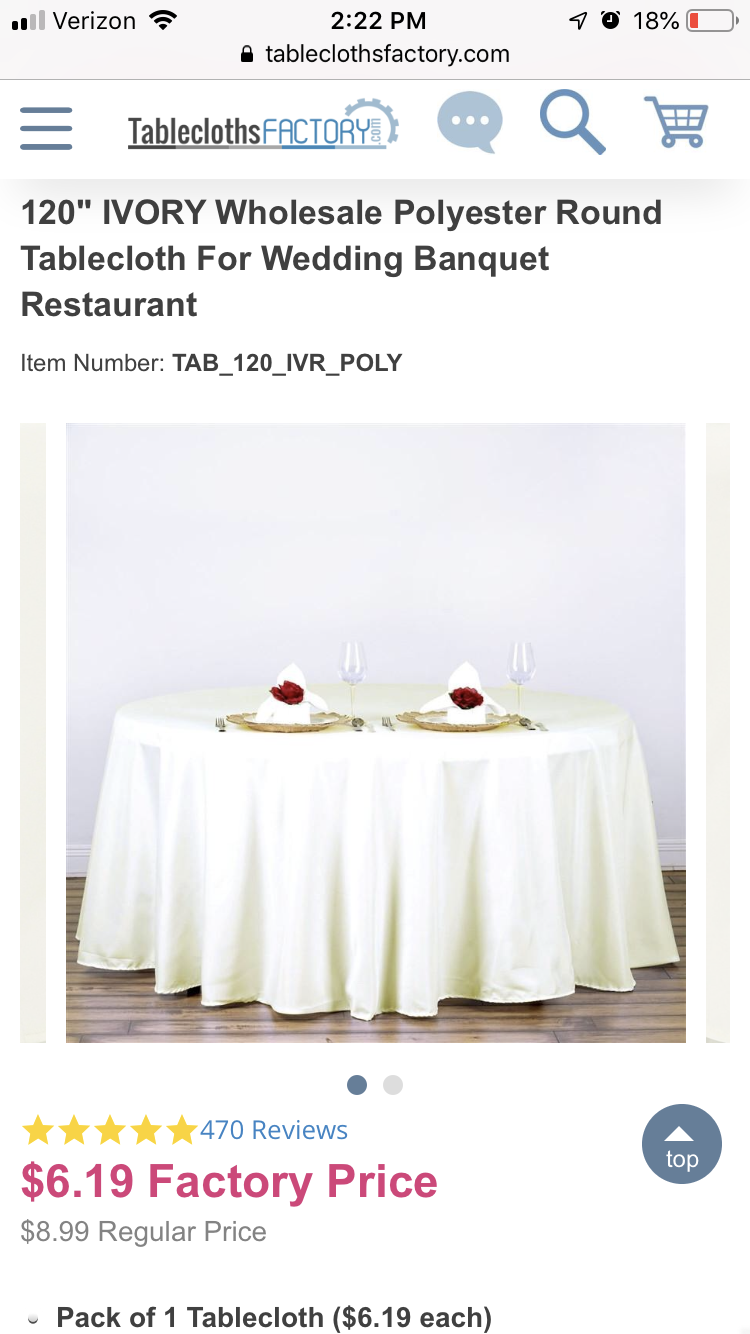 15 Round And 10 Rectangle Ivory Polyester Tablecloths