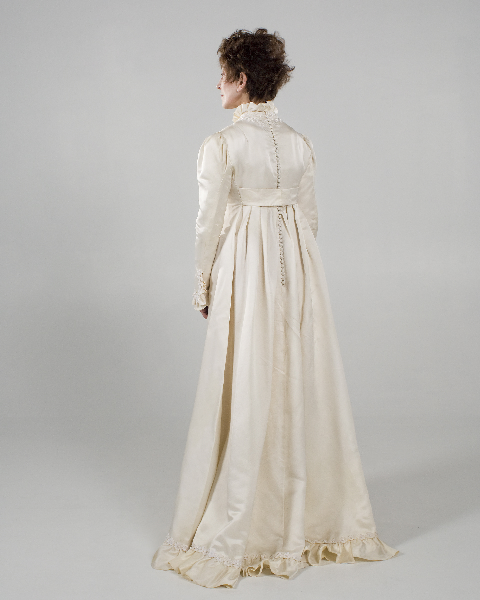 Bianchi - Empire Style Vintage Gown In Ivory Peau-de-soie