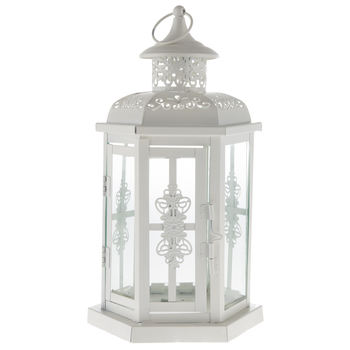 10 White Metal Lanterns