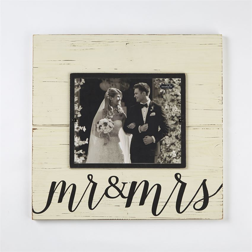 Mr. And Mrs. Distressed Wood Picture Frame